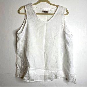 Flax White Linen Sleeveless Top Asymmetrical
